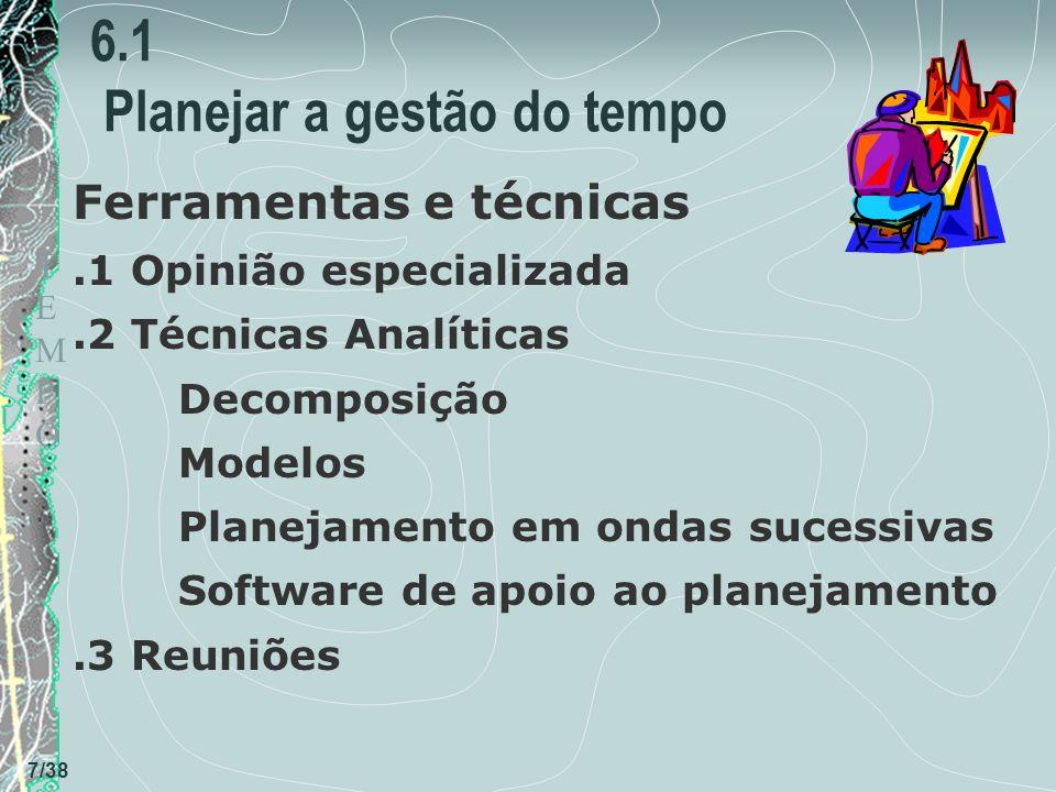 TEMPOTEMPO 7/38 6.1 Planejar a gestão do tempo Ferramentas e técnicas.1 Opinião especializada.2 Técnicas Analíticas Decomposição Modelos Planejamento em ondas sucessivas Software de apoio ao planejamento.3 Reuniões