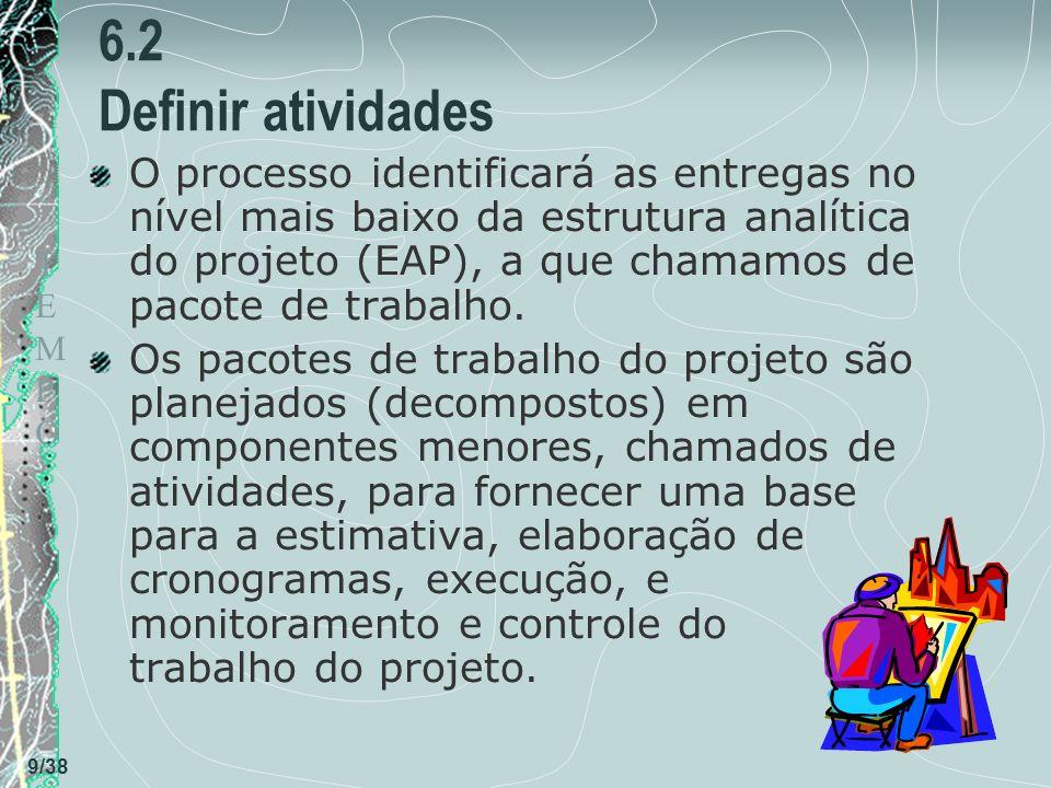 TEMPOTEMPO 9/38 6.2 Definir atividades O processo identificará as entregas no nível mais baixo da estrutura analítica do projeto (EAP), a que chamamos de pacote de trabalho.