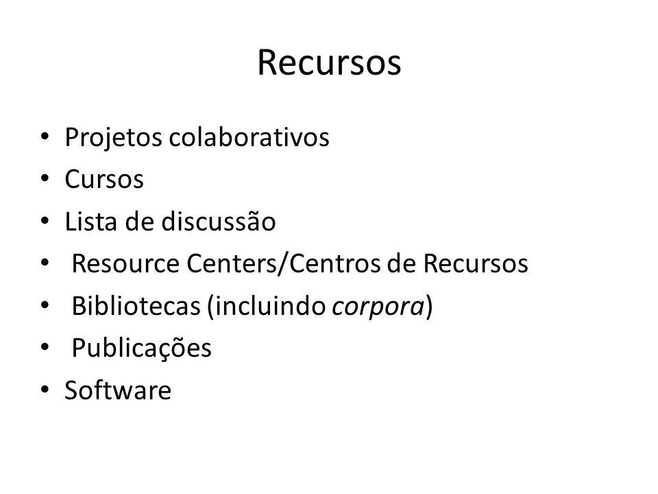 Recursos Projetos colaborativos Cursos Lista de discussão Resource Centers/Centros de Recursos Bibliotecas (incluindo corpora) Publicações Software