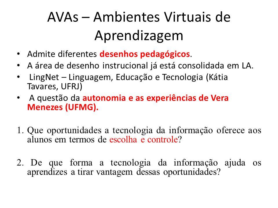 AVAs – Ambientes Virtuais de Aprendizagem Admite diferentes desenhos pedagógicos. A área de desenho instrucional já está consolidada em LA. LingNet –