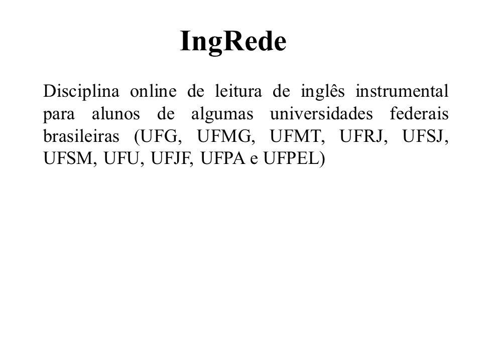 IngRede Disciplina online de leitura de inglês instrumental para alunos de algumas universidades federais brasileiras (UFG, UFMG, UFMT, UFRJ, UFSJ, UF