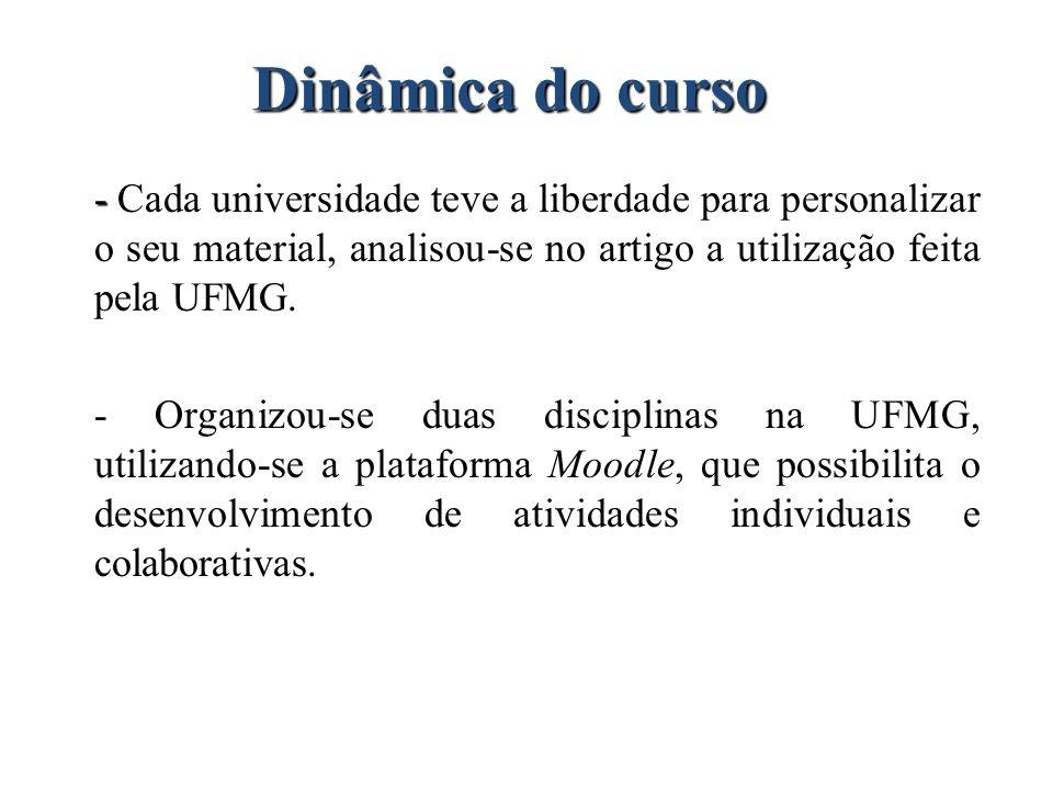 Dinâmica do curso - - Cada universidade teve a liberdade para personalizar o seu material, analisou-se no artigo a utilização feita pela UFMG. - Organ