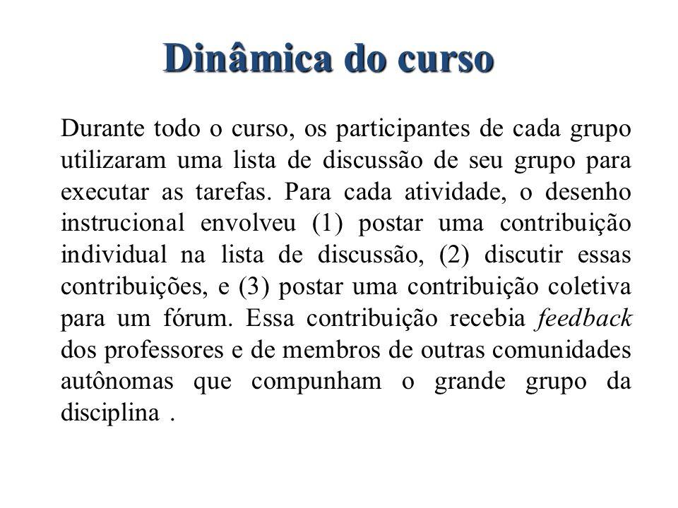 Dinâmica do curso Durante todo o curso, os participantes de cada grupo utilizaram uma lista de discussão de seu grupo para executar as tarefas. Para c