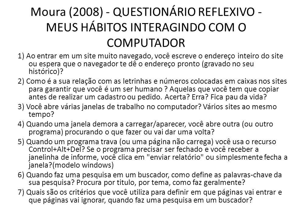 Moura (2008) - QUESTIONÁRIO REFLEXIVO - MEUS HÁBITOS INTERAGINDO COM O COMPUTADOR 1) Ao entrar em um site muito navegado, você escreve o endereço inte