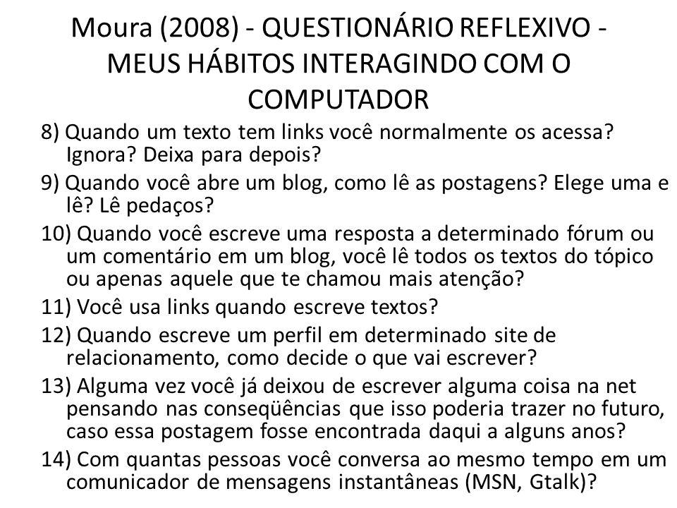 Moura (2008) - QUESTIONÁRIO REFLEXIVO - MEUS HÁBITOS INTERAGINDO COM O COMPUTADOR 8) Quando um texto tem links você normalmente os acessa? Ignora? Dei
