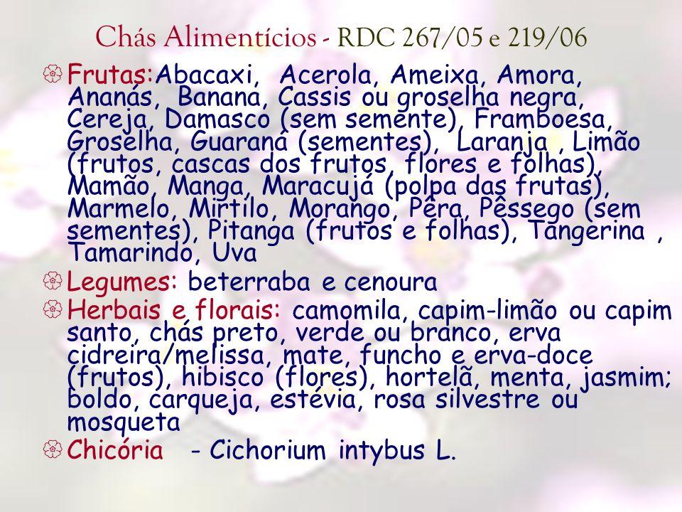 Chás Alimentícios - RDC 267/05 e 219/06 Frutas:Abacaxi, Acerola, Ameixa, Amora, Ananás, Banana, Cassis ou groselha negra, Cereja, Damasco (sem semente