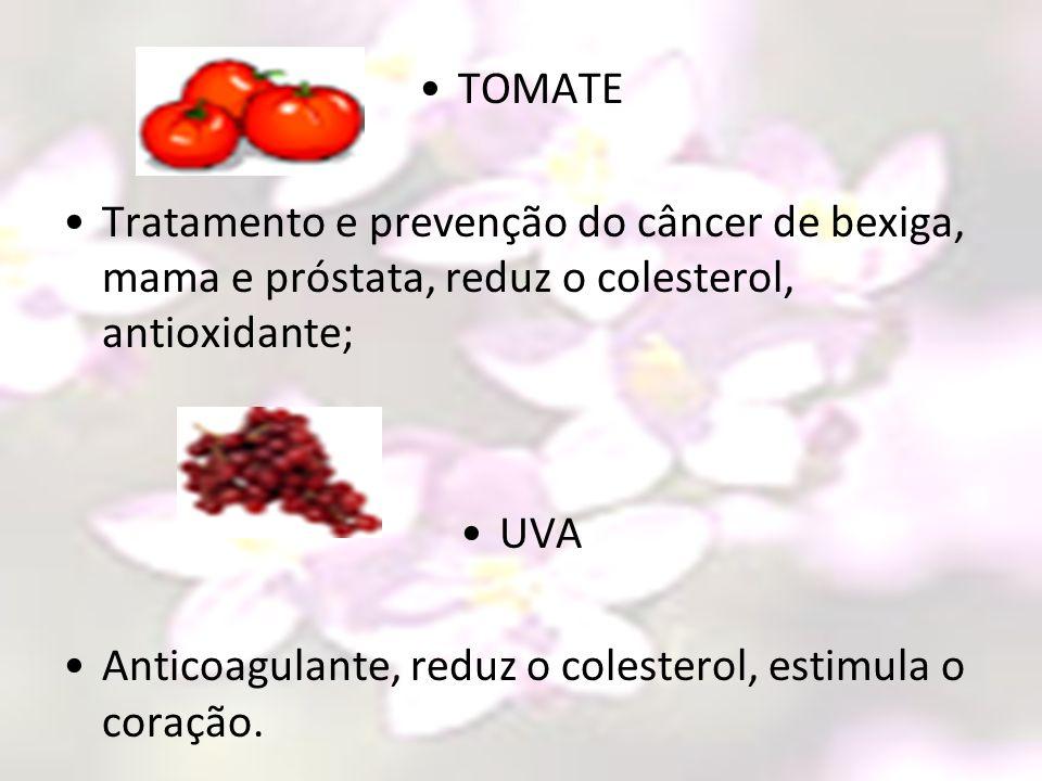 TOMATE Tratamento e prevenção do câncer de bexiga, mama e próstata, reduz o colesterol, antioxidante; UVA Anticoagulante, reduz o colesterol, estimula
