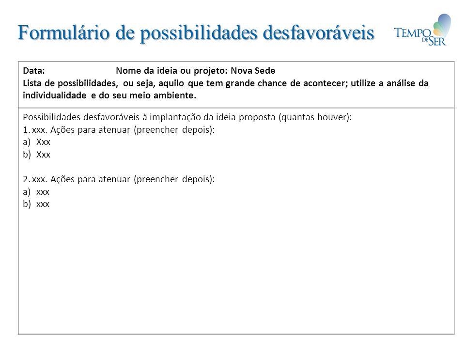 Formulário de possibilidades desfavoráveis Data: Nome da ideia ou projeto: Nova Sede Lista de possibilidades, ou seja, aquilo que tem grande chance de