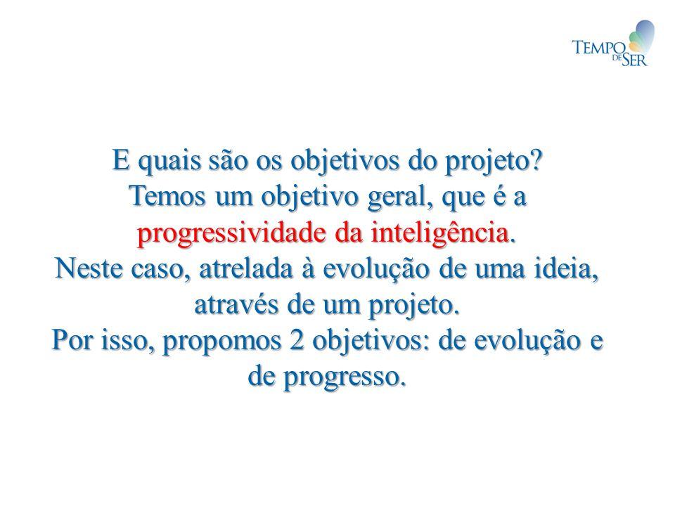 E quais são os objetivos do projeto? Temos um objetivo geral, que é a progressividade da inteligência. Neste caso, atrelada à evolução de uma ideia, a
