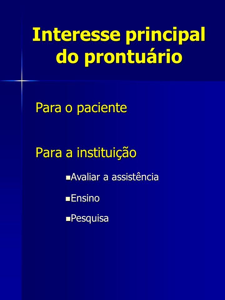 Interesse principal do prontuário Para a instituição Para o paciente Avaliar a assistência Avaliar a assistência Ensino Ensino Pesquisa Pesquisa