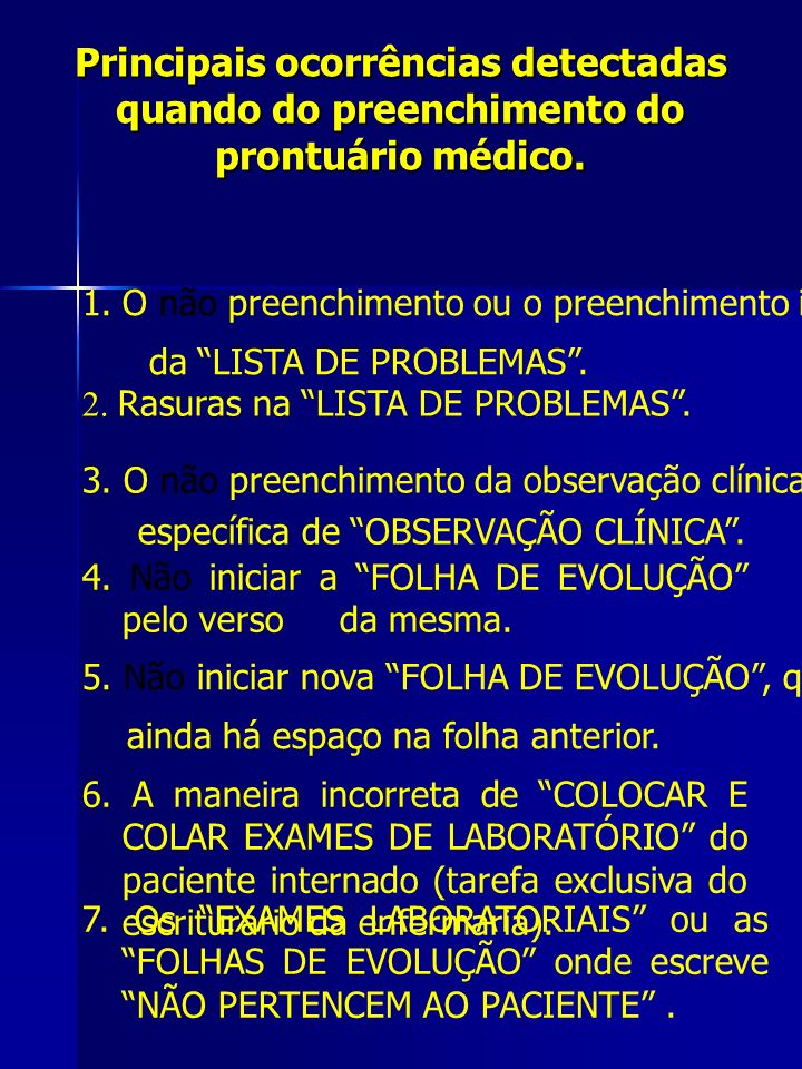 Principais ocorrências detectadas quando do preenchimento do prontuário médico.