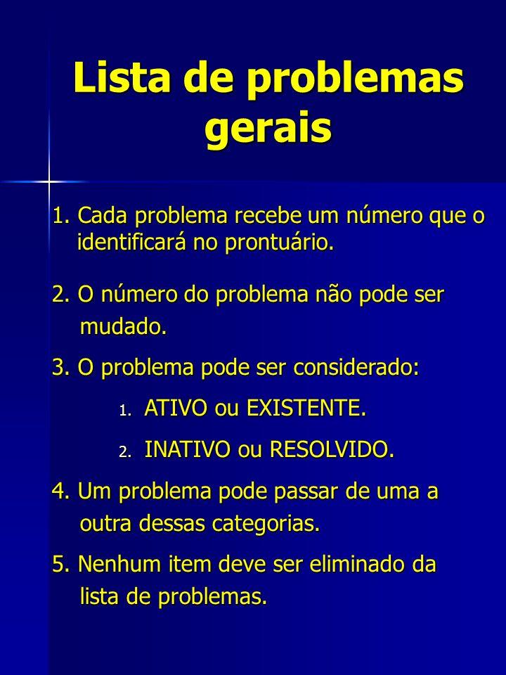 Lista de problemas gerais 5. Nenhum item deve ser eliminado da lista de problemas.