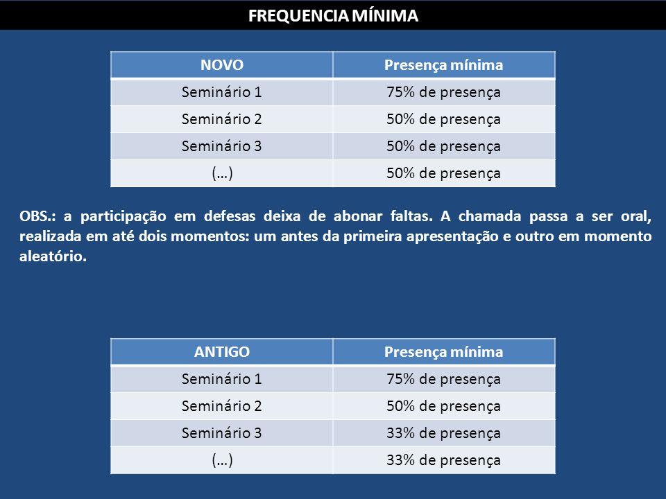 FREQUENCIA MÍNIMA NOVOPresença mínima Seminário 175% de presença Seminário 250% de presença Seminário 350% de presença (…)50% de presença OBS.: a part