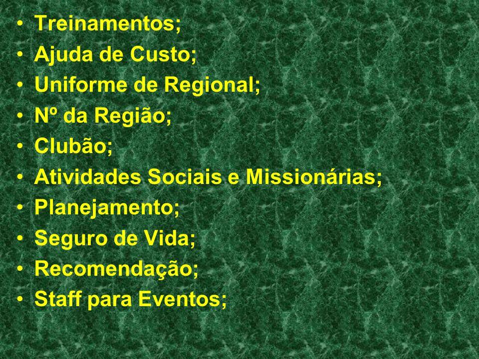 Treinamentos; Ajuda de Custo; Uniforme de Regional; Nº da Região; Clubão; Atividades Sociais e Missionárias; Planejamento; Seguro de Vida; Recomendaçã