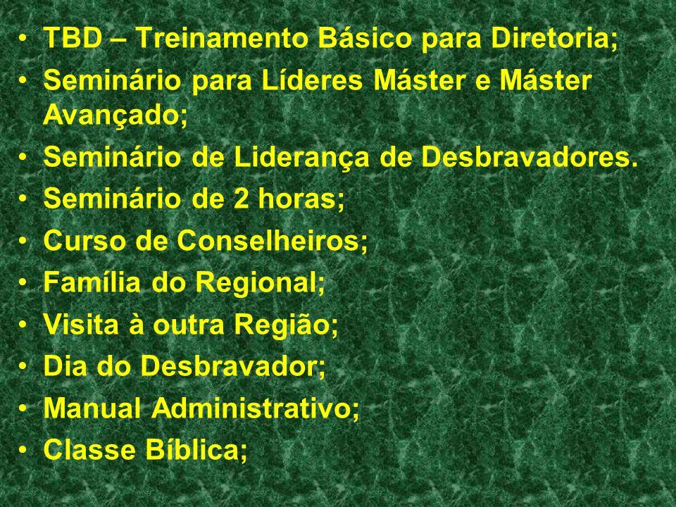 TBD – Treinamento Básico para Diretoria; Seminário para Líderes Máster e Máster Avançado; Seminário de Liderança de Desbravadores. Seminário de 2 hora
