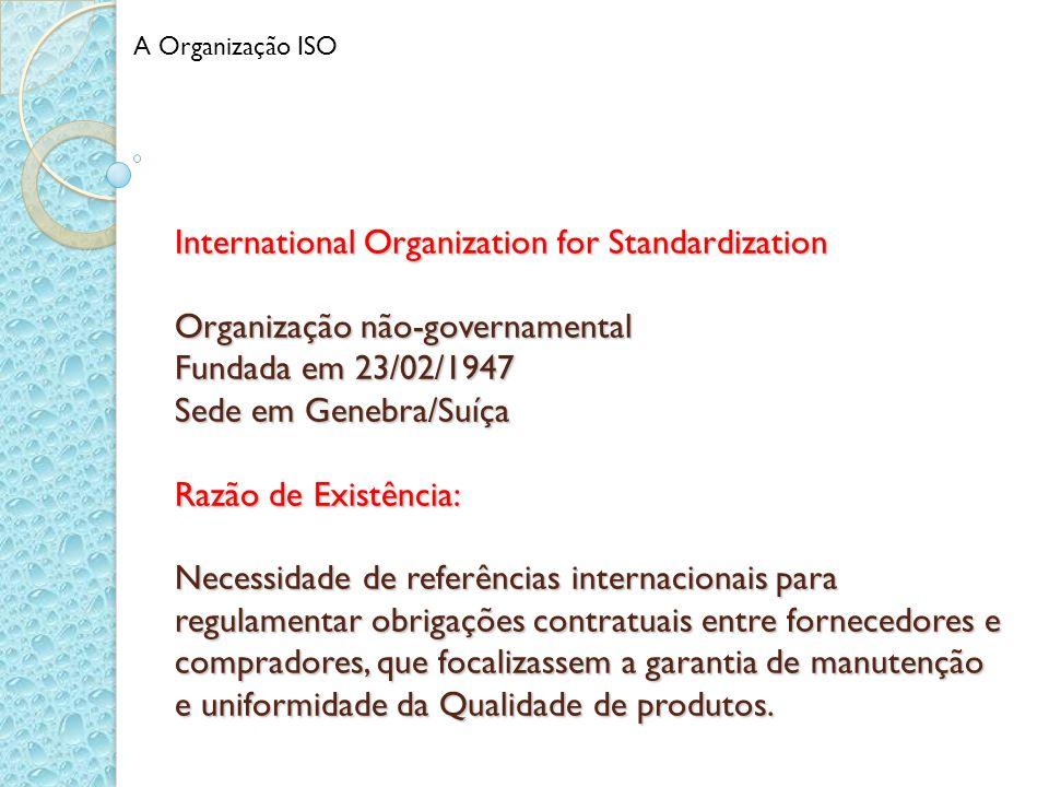 International Organization for Standardization Organização não-governamental Fundada em 23/02/1947 Sede em Genebra/Suíça Razão de Existência: Necessid