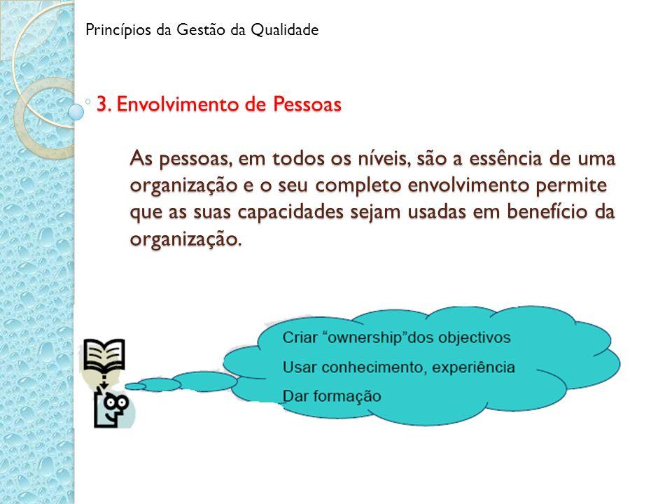 3. Envolvimento de Pessoas As pessoas, em todos os níveis, são a essência de uma organização e o seu completo envolvimento permite que as suas capacid