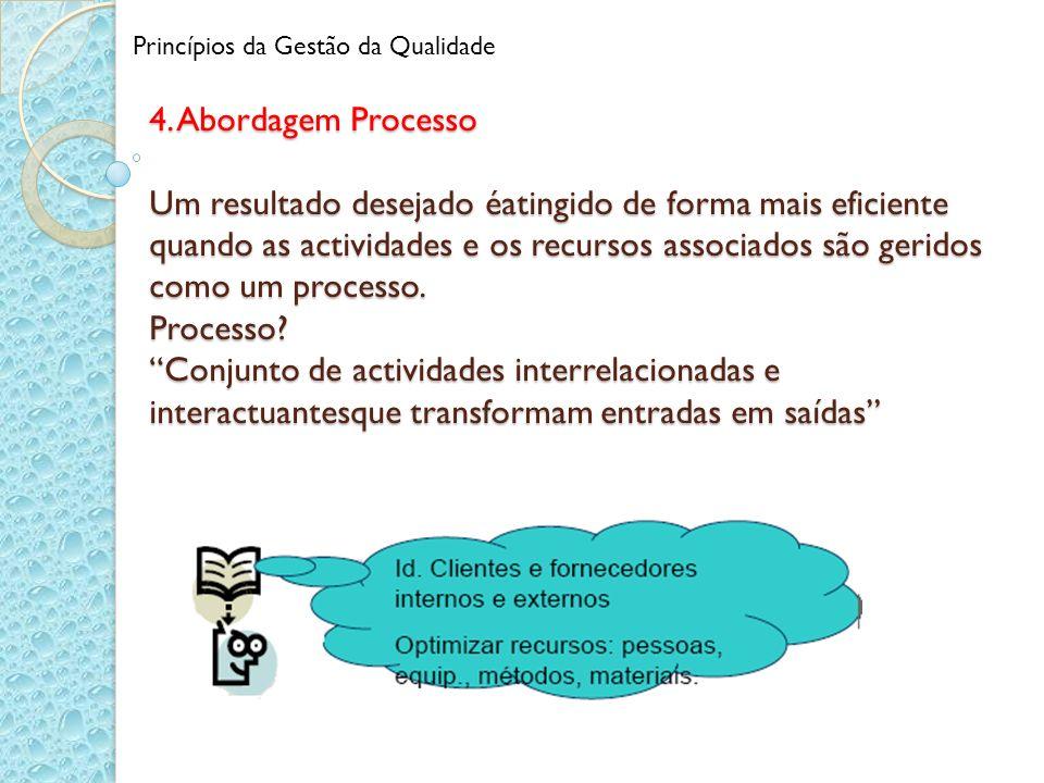 4. Abordagem Processo Um resultado desejado éatingido de forma mais eficiente quando as actividades e os recursos associados são geridos como um proce