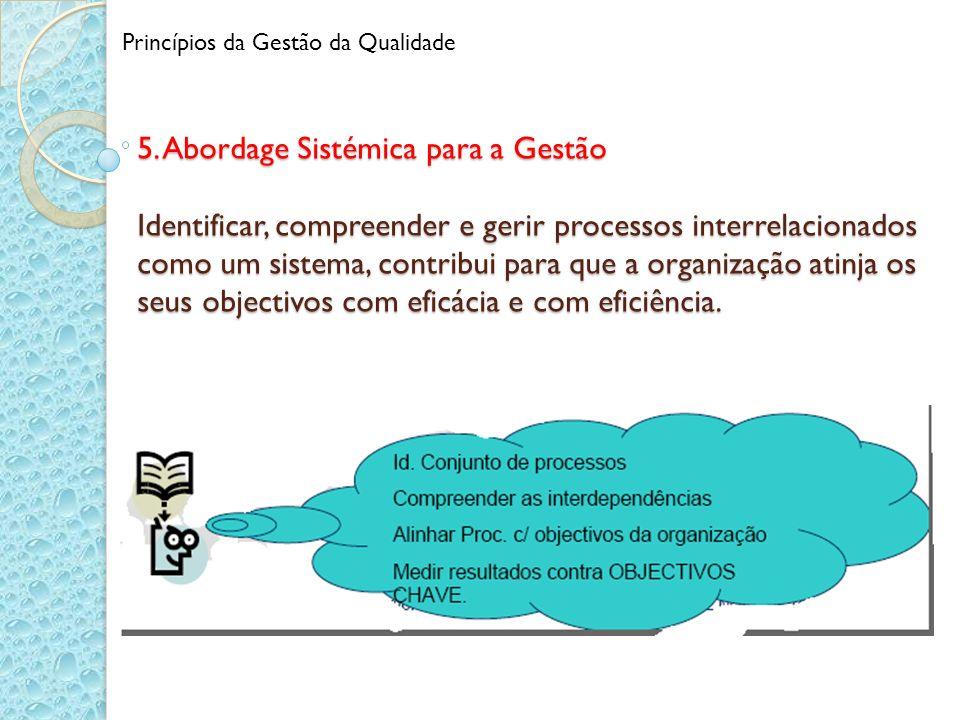 5. Abordage Sistémica para a Gestão Identificar, compreender e gerir processos interrelacionados como um sistema, contribui para que a organização ati