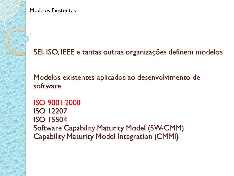 SEI, ISO, IEEE e tantas outras organizações definem modelos Modelos existentes aplicados ao desenvolvimento de software ISO 9001:2000 ISO 12207 ISO 15