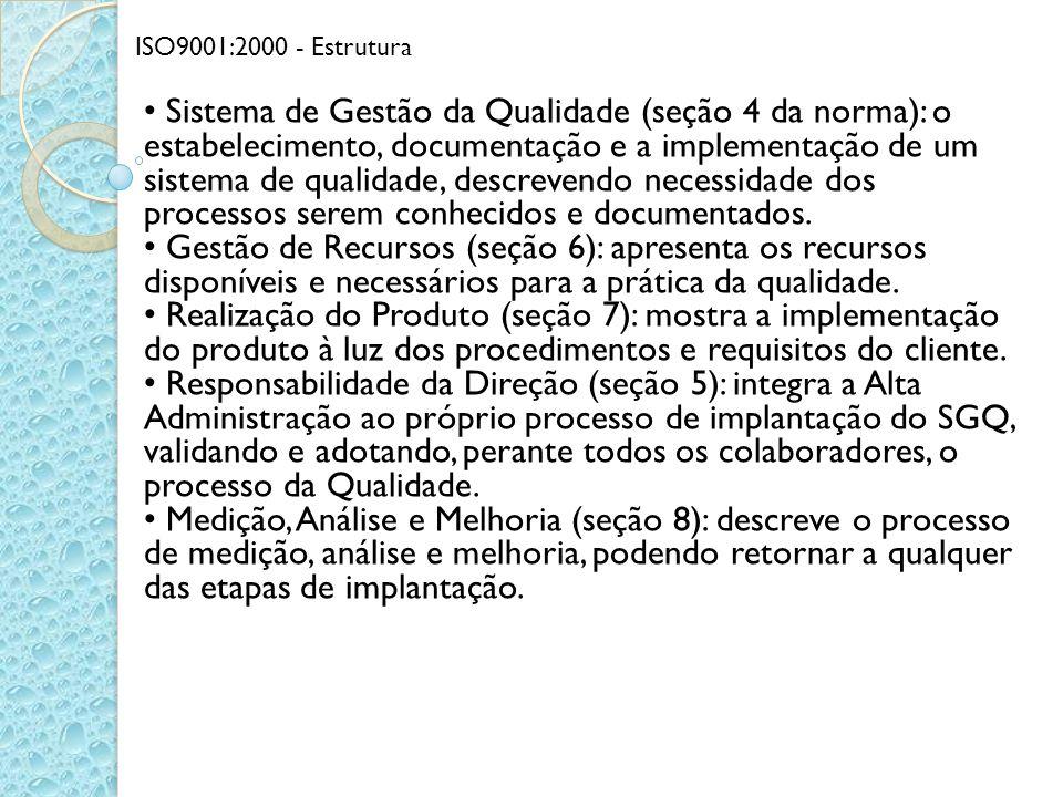 ISO9001:2000 - Estrutura Sistema de Gestão da Qualidade (seção 4 da norma): o estabelecimento, documentação e a implementação de um sistema de qualida