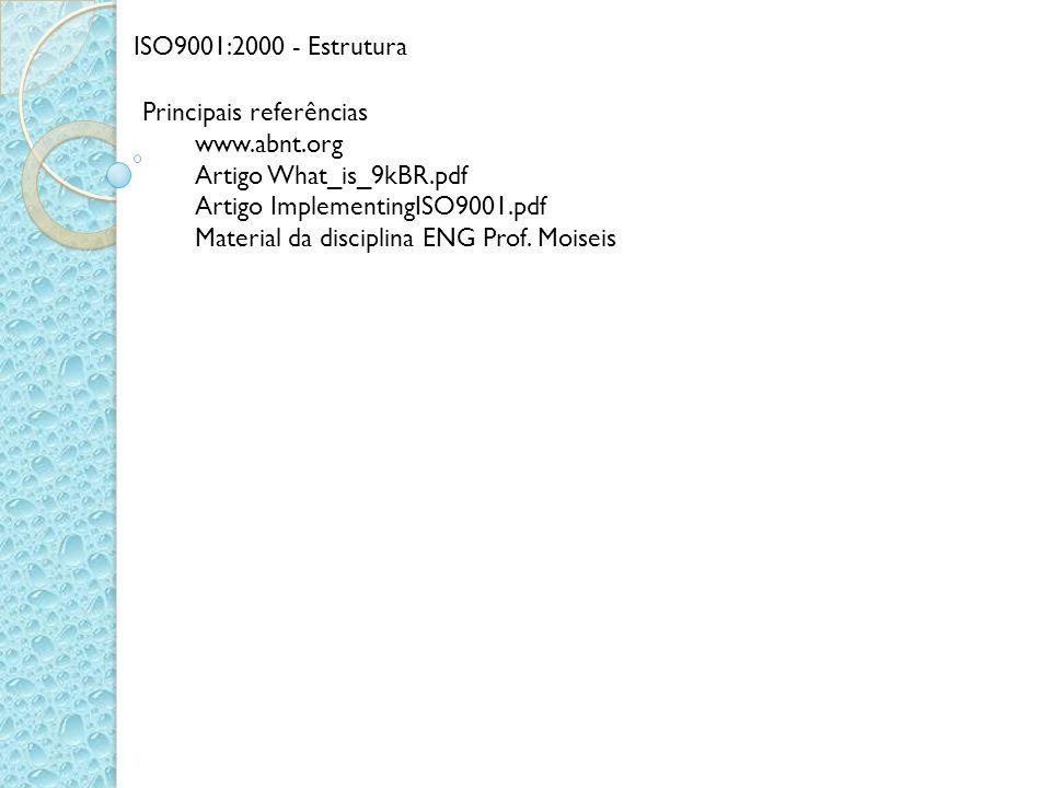 ISO9001:2000 - Estrutura Principais referências www.abnt.org Artigo What_is_9kBR.pdf Artigo ImplementingISO9001.pdf Material da disciplina ENG Prof. M