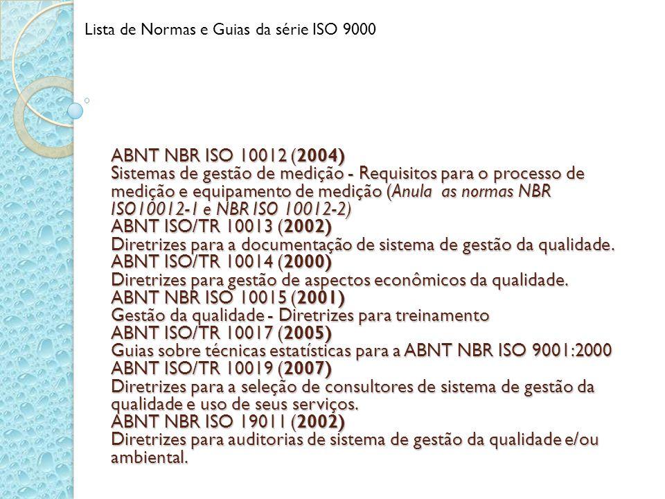 ABNT NBR ISO 10012 (2004) Sistemas de gestão de medição - Requisitos para o processo de medição e equipamento de medição (Anula as normas NBR ISO10012