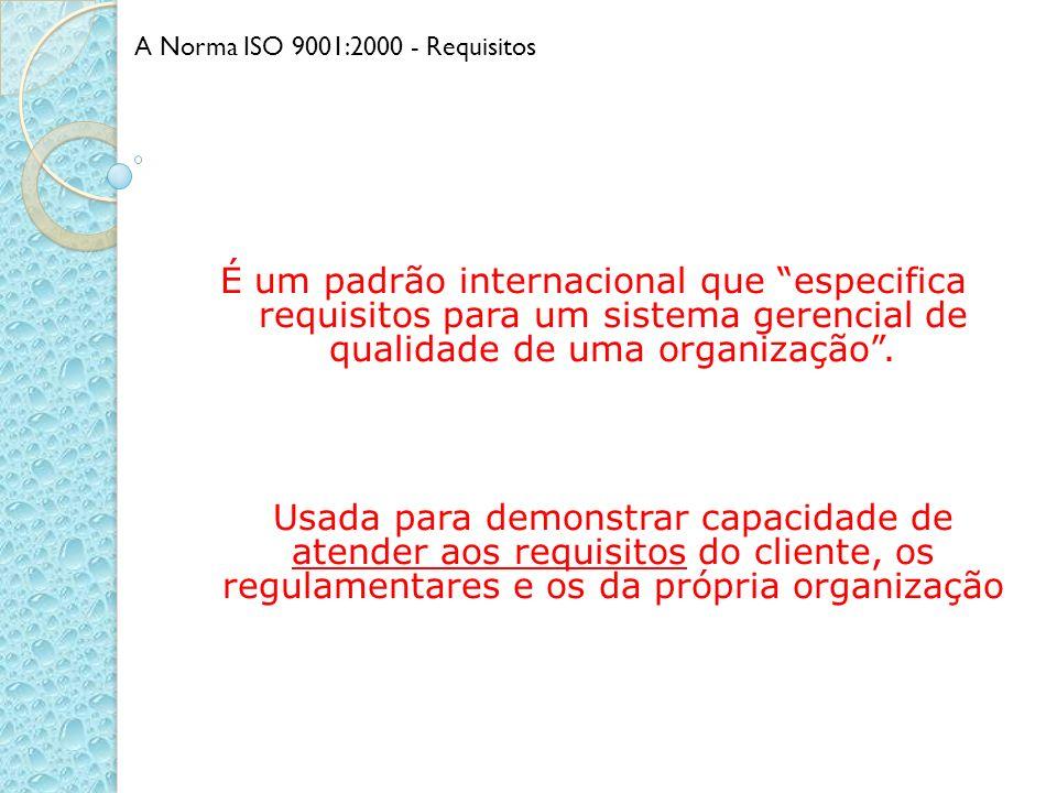 É um padrão internacional que especifica requisitos para um sistema gerencial de qualidade de uma organização. Usada para demonstrar capacidade de ate