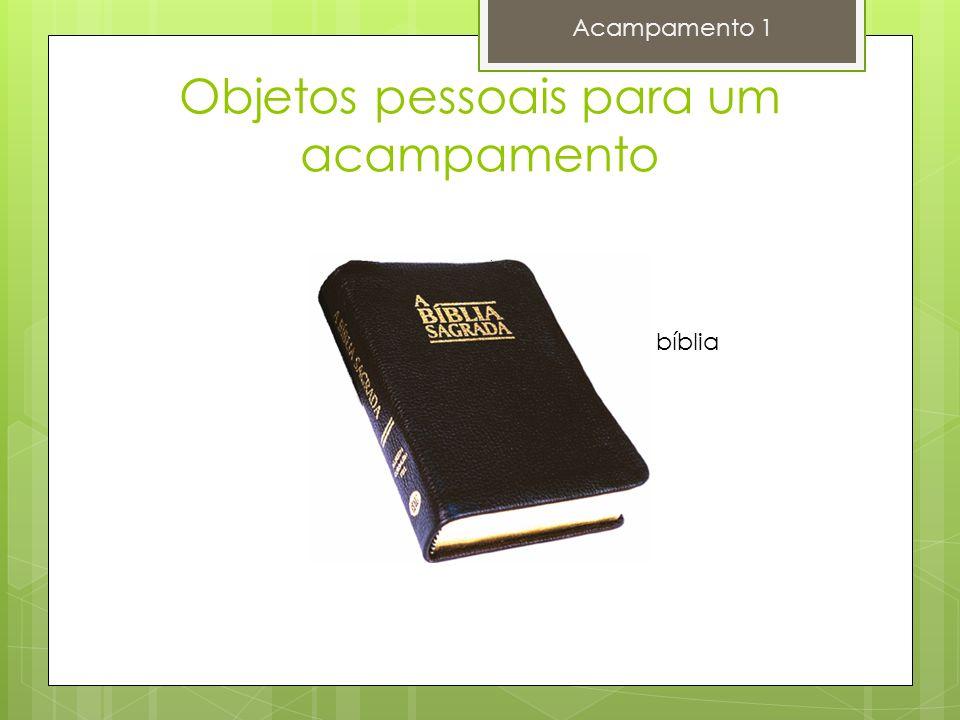 Objetos pessoais para um acampamento Acampamento 1 bíblia