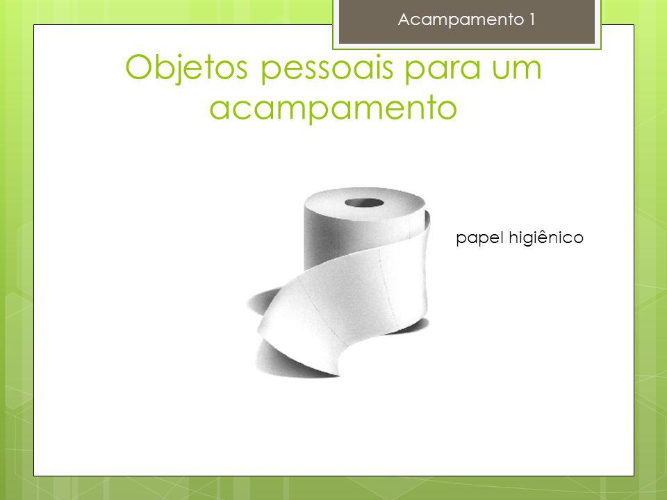 Objetos pessoais para um acampamento Acampamento 1 papel higiênico