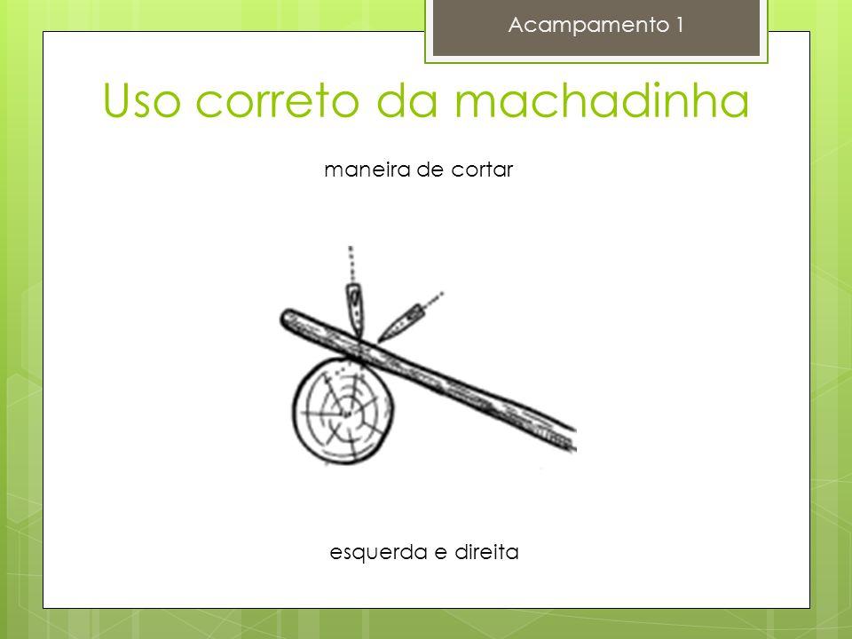 Acampamento 1 maneira de cortar esquerda e direita Uso correto da machadinha