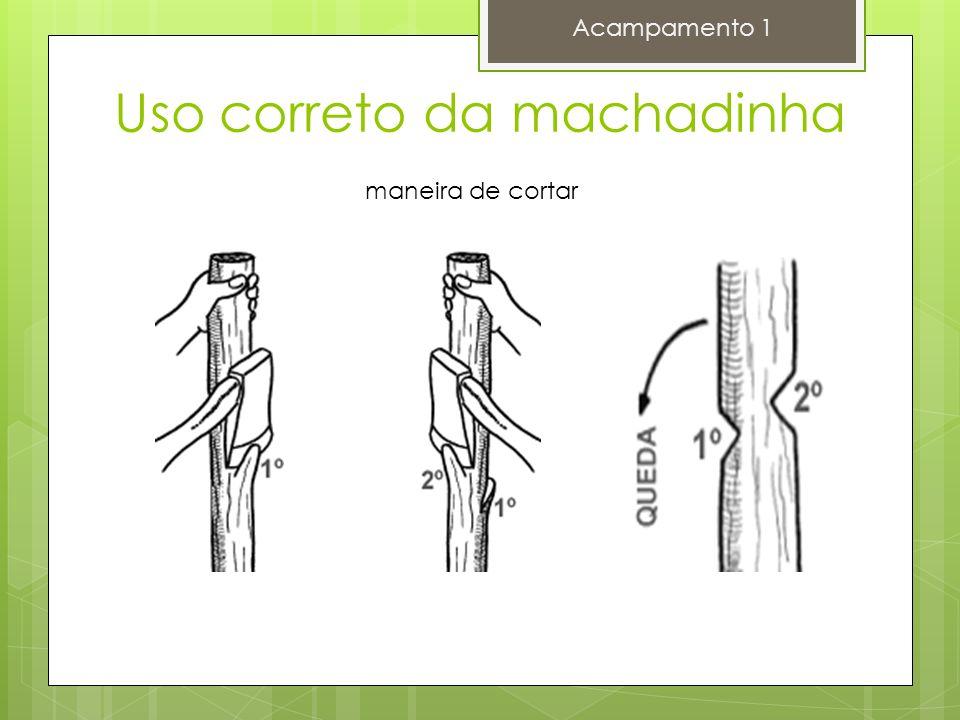 Acampamento 1 maneira de cortar Uso correto da machadinha