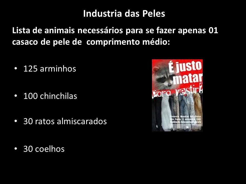 Industria das Peles 125 arminhos 100 chinchilas 30 ratos almiscarados 30 coelhos Lista de animais necessários para se fazer apenas 01 casaco de pele de comprimento médio:
