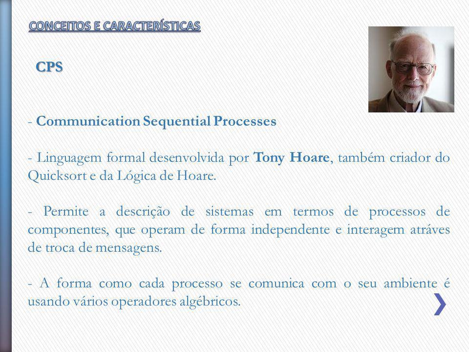 - Communication Sequential Processes - Linguagem formal desenvolvida por Tony Hoare, também criador do Quicksort e da Lógica de Hoare. - Permite a des