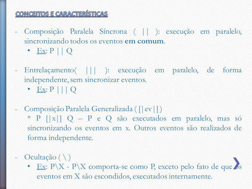 -Composição Paralela Síncrona ( || ): execução em paralelo, sincronizando todos os eventos em comum. Ex: P || Q -Entrelaçamento( ||| ): execução em pa