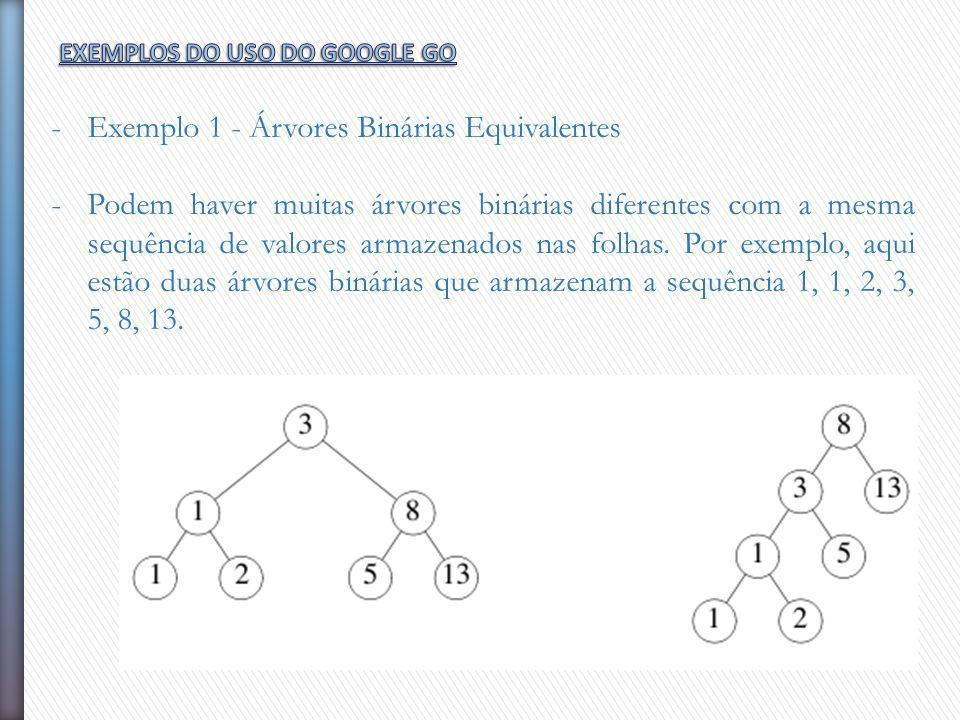 -Exemplo 1 - Árvores Binárias Equivalentes -Podem haver muitas árvores binárias diferentes com a mesma sequência de valores armazenados nas folhas. Po