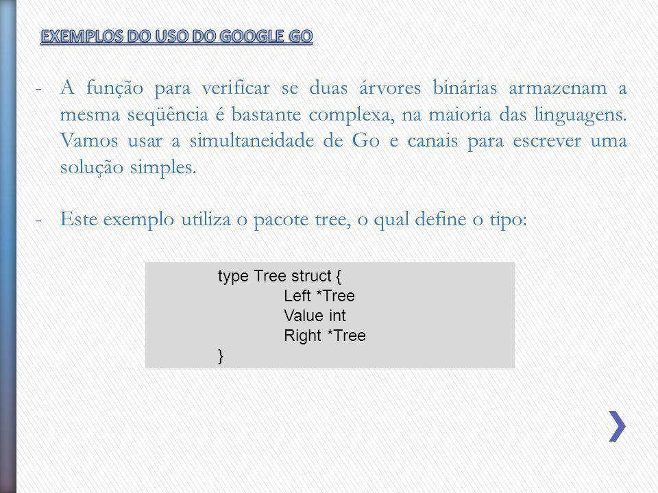 -A função para verificar se duas árvores binárias armazenam a mesma seqüência é bastante complexa, na maioria das linguagens. Vamos usar a simultaneid