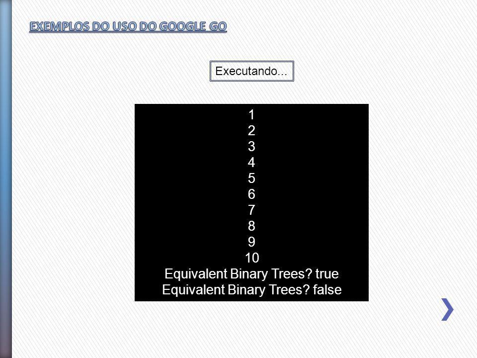 1 2 3 4 5 6 7 8 9 10 Equivalent Binary Trees? true Equivalent Binary Trees? false Executando...