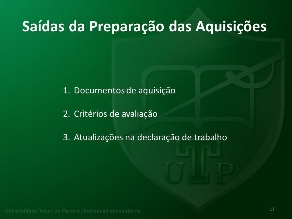Saídas da Preparação das Aquisições 1.Documentos de aquisição 2.Critérios de avaliação 3.Atualizações na declaração de trabalho 11