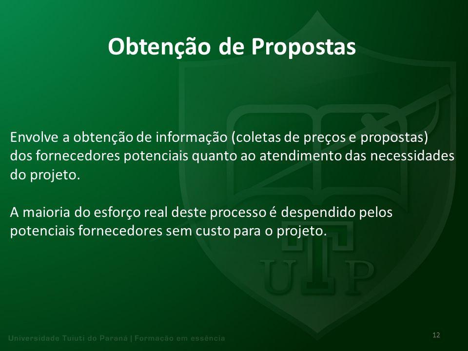 Obtenção de Propostas Envolve a obtenção de informação (coletas de preços e propostas) dos fornecedores potenciais quanto ao atendimento das necessida