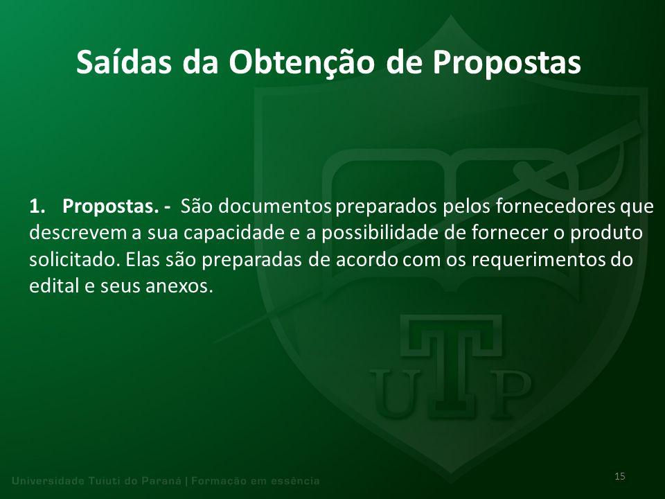 Saídas da Obtenção de Propostas 1.Propostas. - São documentos preparados pelos fornecedores que descrevem a sua capacidade e a possibilidade de fornec