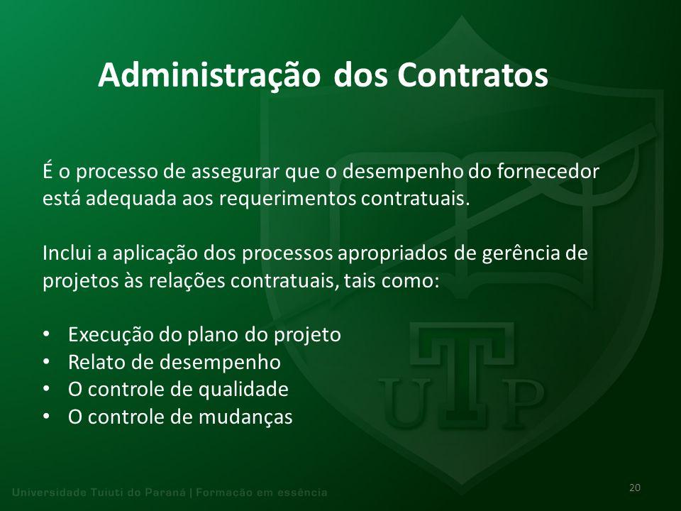 Administração dos Contratos É o processo de assegurar que o desempenho do fornecedor está adequada aos requerimentos contratuais. Inclui a aplicação d