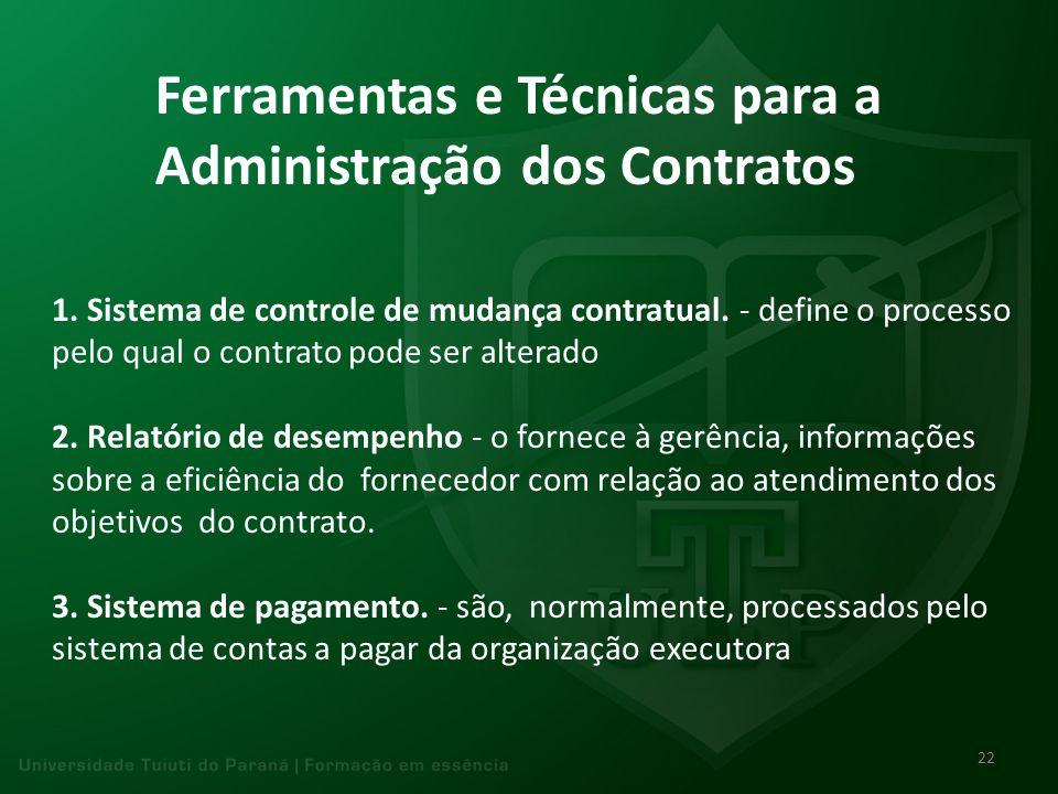 Ferramentas e Técnicas para a Administração dos Contratos 1. Sistema de controle de mudança contratual. - define o processo pelo qual o contrato pode