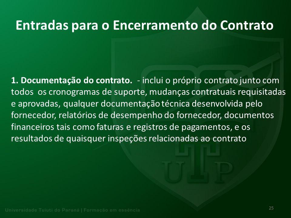 Entradas para o Encerramento do Contrato 1. Documentação do contrato. - inclui o próprio contrato junto com todos os cronogramas de suporte, mudanças