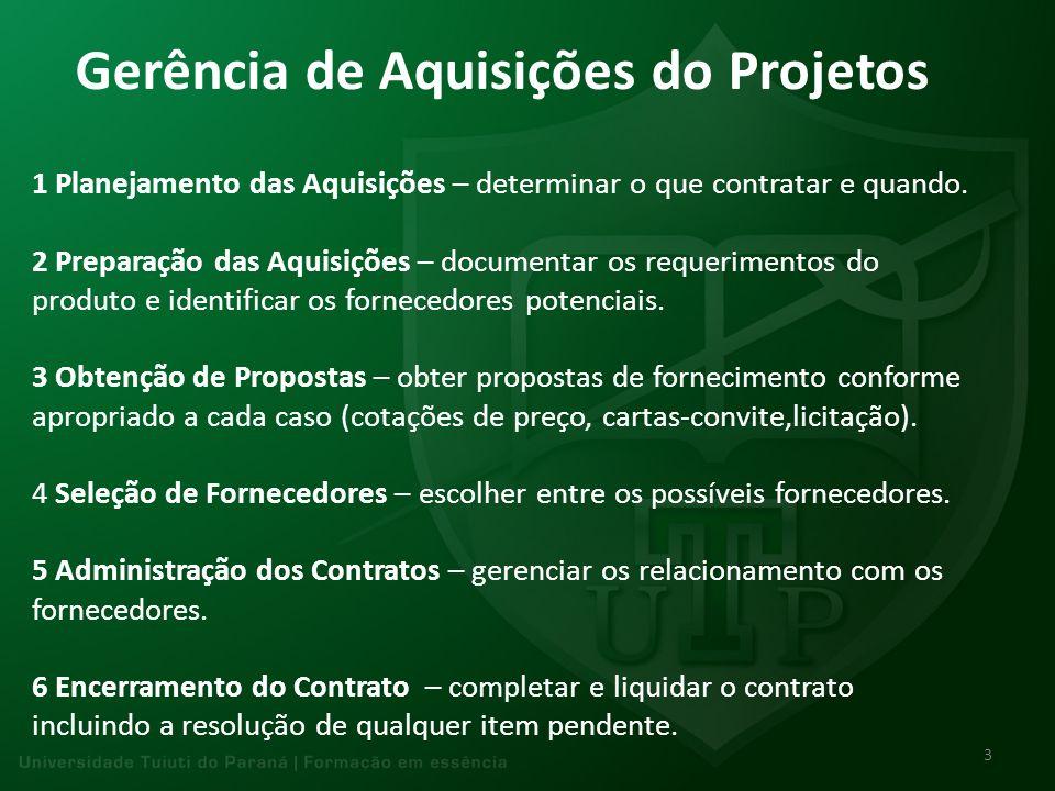 Gerência de Aquisições do Projetos 1 Planejamento das Aquisições – determinar o que contratar e quando. 2 Preparação das Aquisições – documentar os re