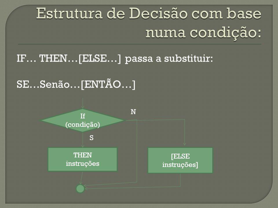 IF… THEN…[ELSE…] passa a substituir: SE…Senão…[ENTÃO…] If (condição) THEN instruções [ELSE instruções] S N