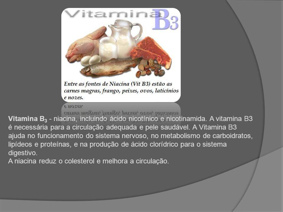 Vitamina B 5 - Ácido pantotênico, conhecido como a vitamina antisstress, a vitamina B5 atua na produção dos hormônios suprarrenais e na formação de anticorpos.