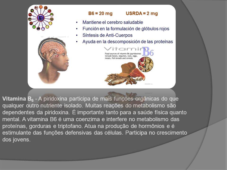 Vitamina B 6 - A piridoxina participa de mais funções orgânicas do que qualquer outro nutriente isolado. Muitas reações do metabolismo são dependentes