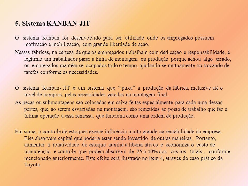 5. Sistema KANBAN-JIT O sistema Kanban foi desenvolvido para ser utilizado onde os empregados possuem motivação e mobilização, com grande liberdade de