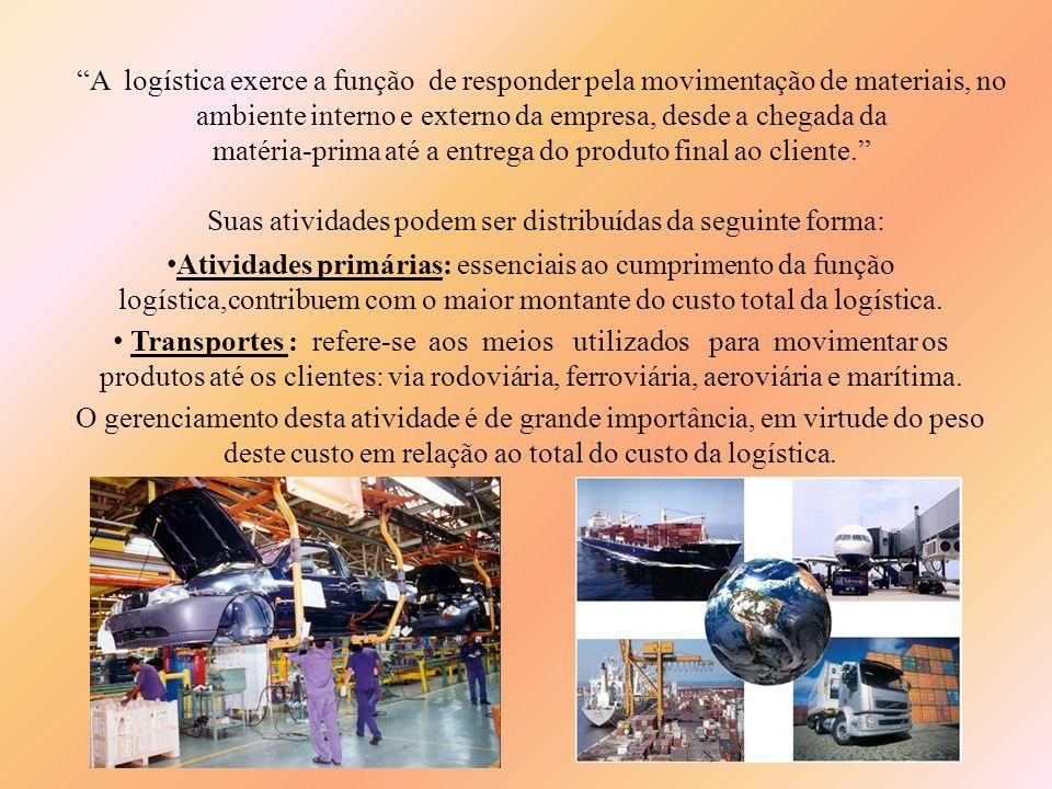 A logística exerce a função de responder pela movimentação de materiais, no ambiente interno e externo da empresa, desde a chegada da matéria-prima at